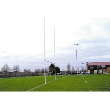 Poteaux de rugby à sceller hauteur 8m en aluminium Ø101,6mm sur charnières