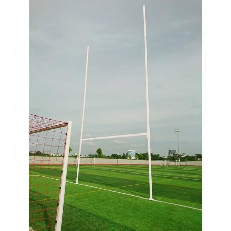 Poteaux de rugby à sceller hauteur 11m en aluminium Ø101,6mm sur charnières