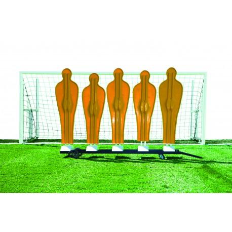 Chariot mobile pour 5 mannequins de mur de coup-franc