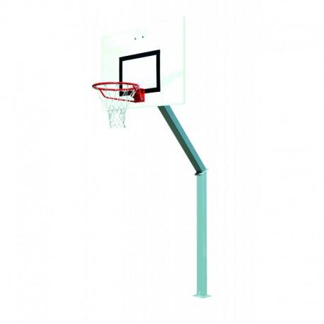 But de basket carré de 100 mm - Hauteur du cercle 2,6 m sur platine