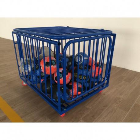 Chariot à ballons en acier plastifié bleu - Capacité 20 ballons